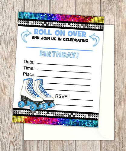 """Rollerskates Fill In Blank Invitations, Flat Cards, Set Of 20, Blue Roller Skates Birthday Party Invitations With Envelopes, Skating Party, Flat Card Invitations, 4.25"""" x 5.5"""""""
