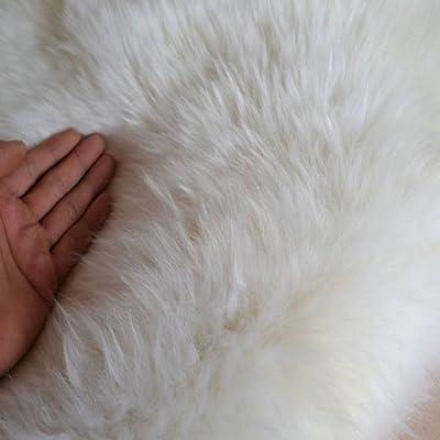 GAOC Sheepskin Rug Super Fluffy Silky Carpet Hair Length 4-5cm Thick Wool Non Slip Mats,Darkbrown-100cm200cm(39.378.7Inch)