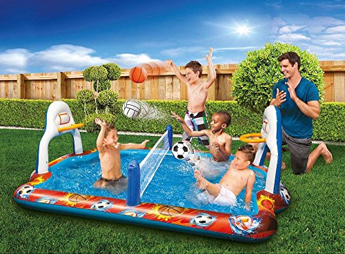 Inflatable Volleyball Net - Kiddie Pool Water Sports Arena Activity Splash Pool Volleyball Net & Full Court Basketball Hoops Wading Water Fun!