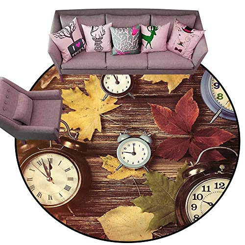 Custom Maple Bat - Soft Area Rug for Children Baby Fall,Clocks with Dry Leaves Diameter 48