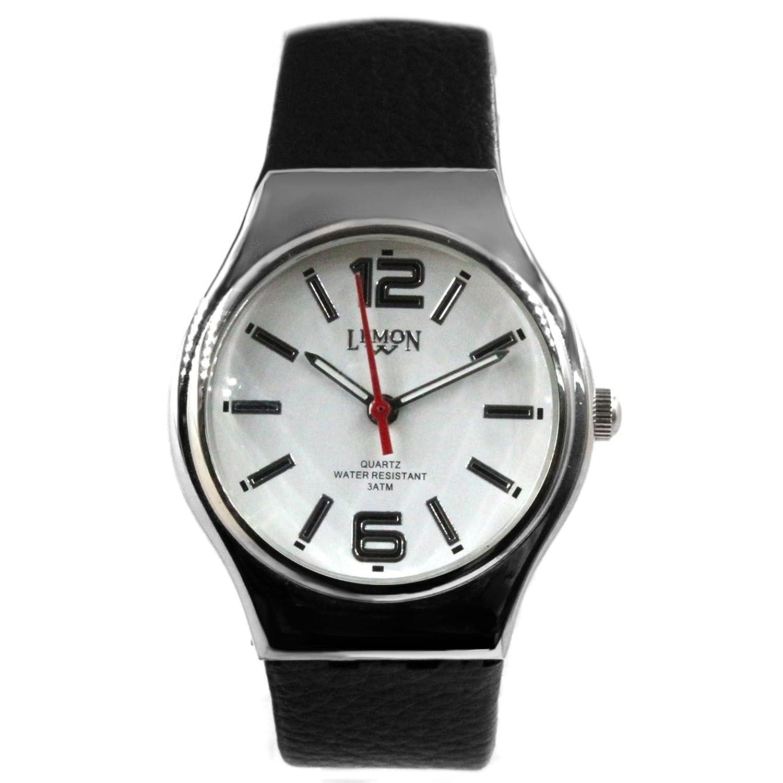 Alexis ユニセックス 時計 ミヨタ 2035 ブラック 本革ベルト 白 ダイヤル 995A B078GLW4PJ