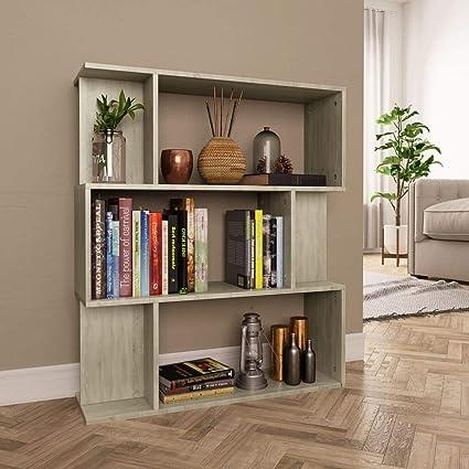 vidaXL Estantería Librería Separador Ambientes Baja Estante Libros Divisor Espacios 3 Niveles 6 Módulos Grandes Pequeños Aglomerado Color Roble Sonoma