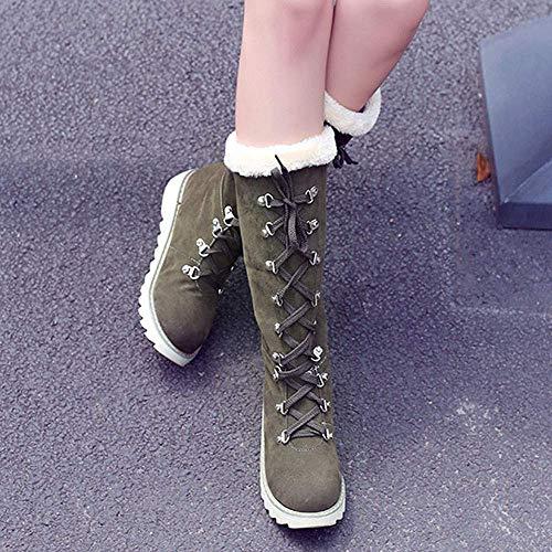 Donna Verde Dimensione Dimensione Dimensione ZHRUI Martin UK scarpe Platform Stivali Beige   8c0c38