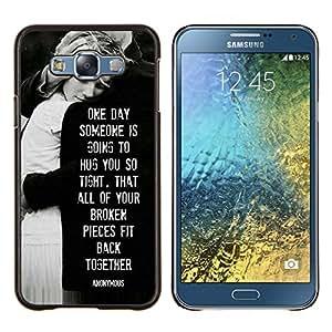 KLONGSHOP // Cubierta de piel con cierre a presión Shell trasero duro de goma Protección Caso - angustias amor de la familia blanco negro - Samsung Galaxy E7 E700 //