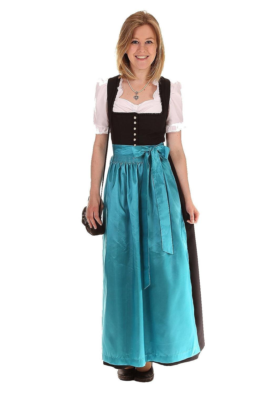 Turi Landhausmode Damen Dirndl schwarz D431014 Amy95cm Knopf OHNE Schürze