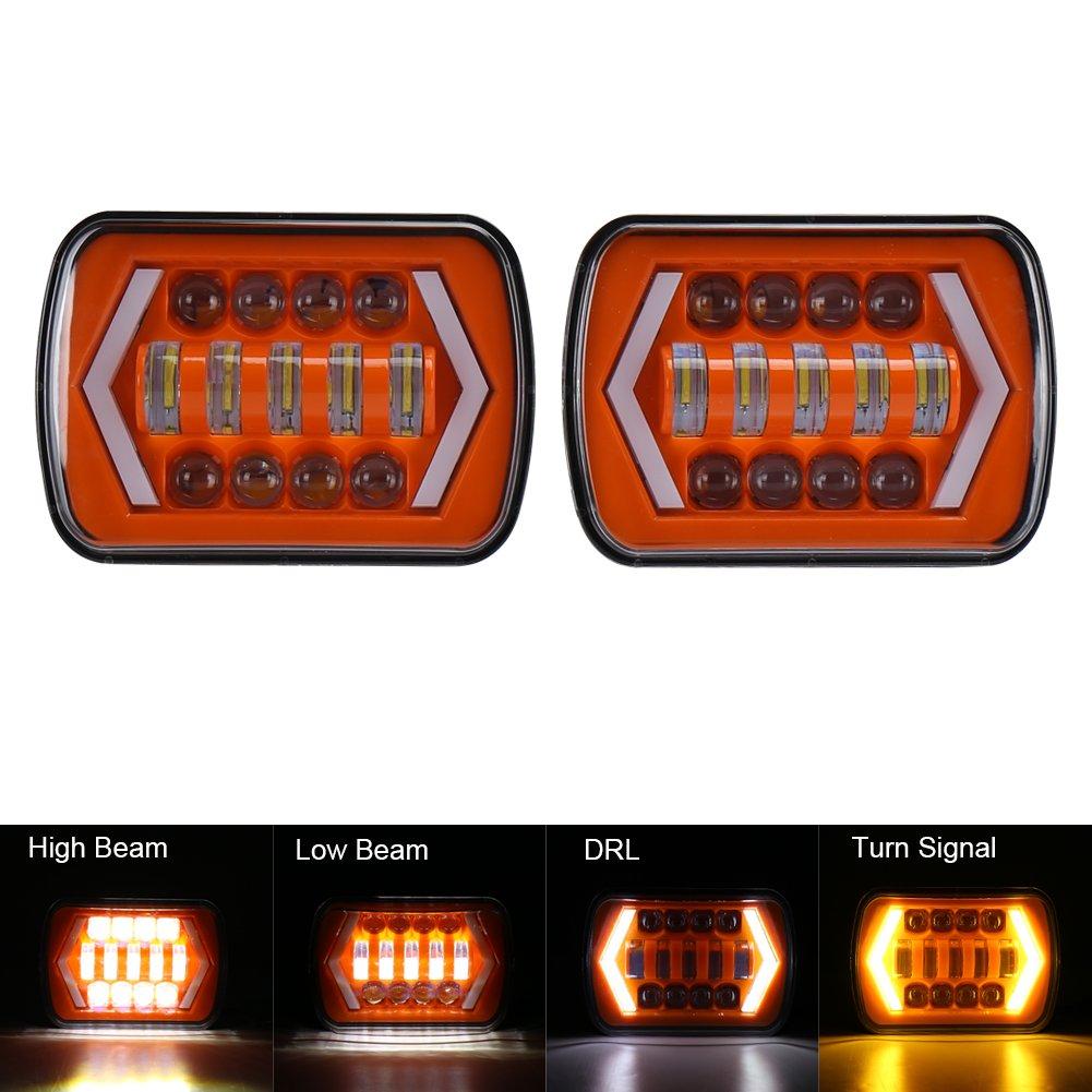 7x6 Led Headlight Movotor Jeep Wrangler Yj 55 Chevy Turn Signal Embly Headlights With Amber Light Headlamp For Cherokee Xj 4x4 Truck Automotive