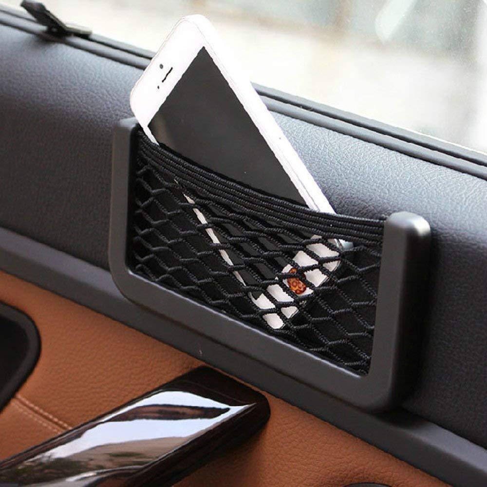 YZYP 1 X Auto Baule di Rete Mesh Bag String Bag Storage Net Pocket Nero in Nylon Elastico Nets Sticky Borsa Organizer per telefoni Ricarica Sigarette 15 /×8 cm