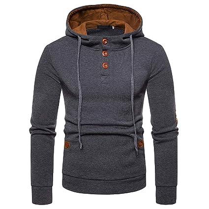 LILICAT Suéter de Empalme de Bolsillo para Hombre Sudadera con Capucha de Manga Larga Tops Blusa