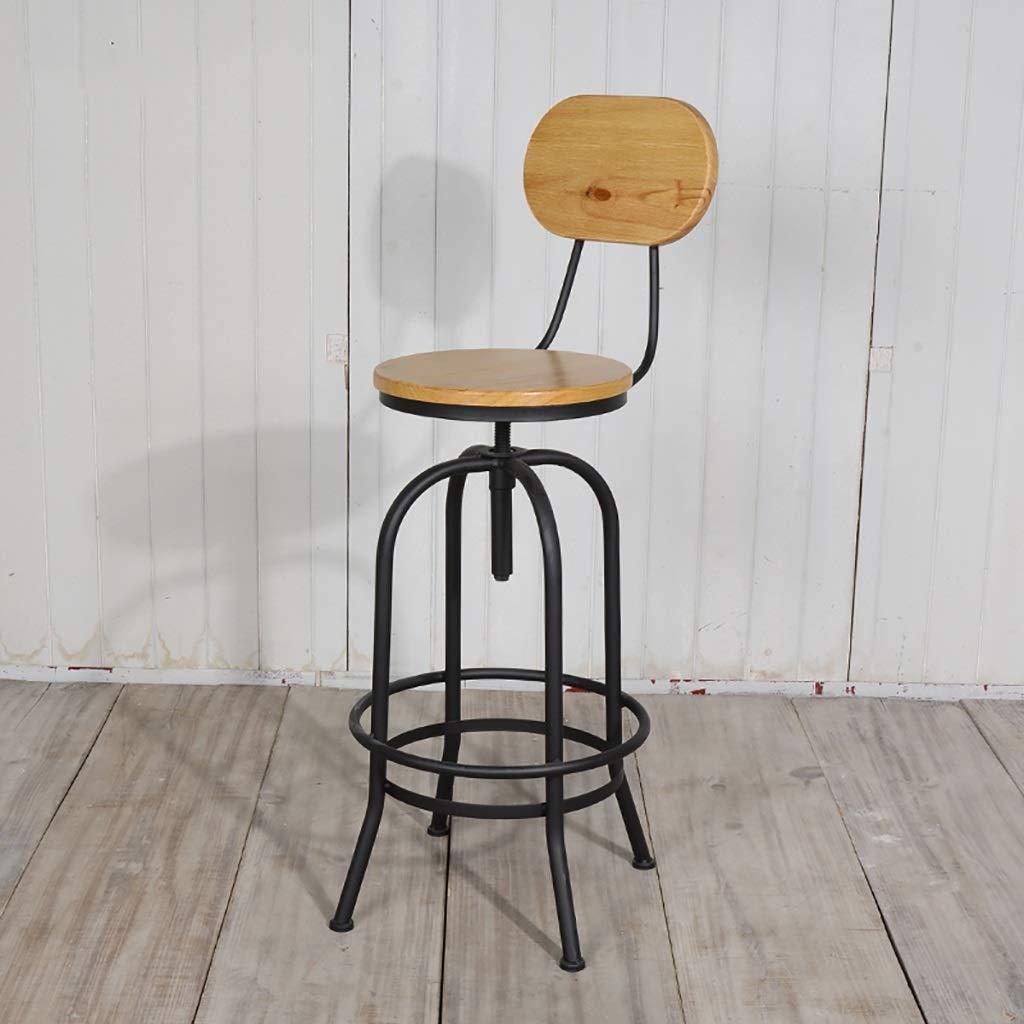 バーチェア、レトロ缶アイアンアート+木製の椅子産業風の装飾スツールバースツール B07HVY642D