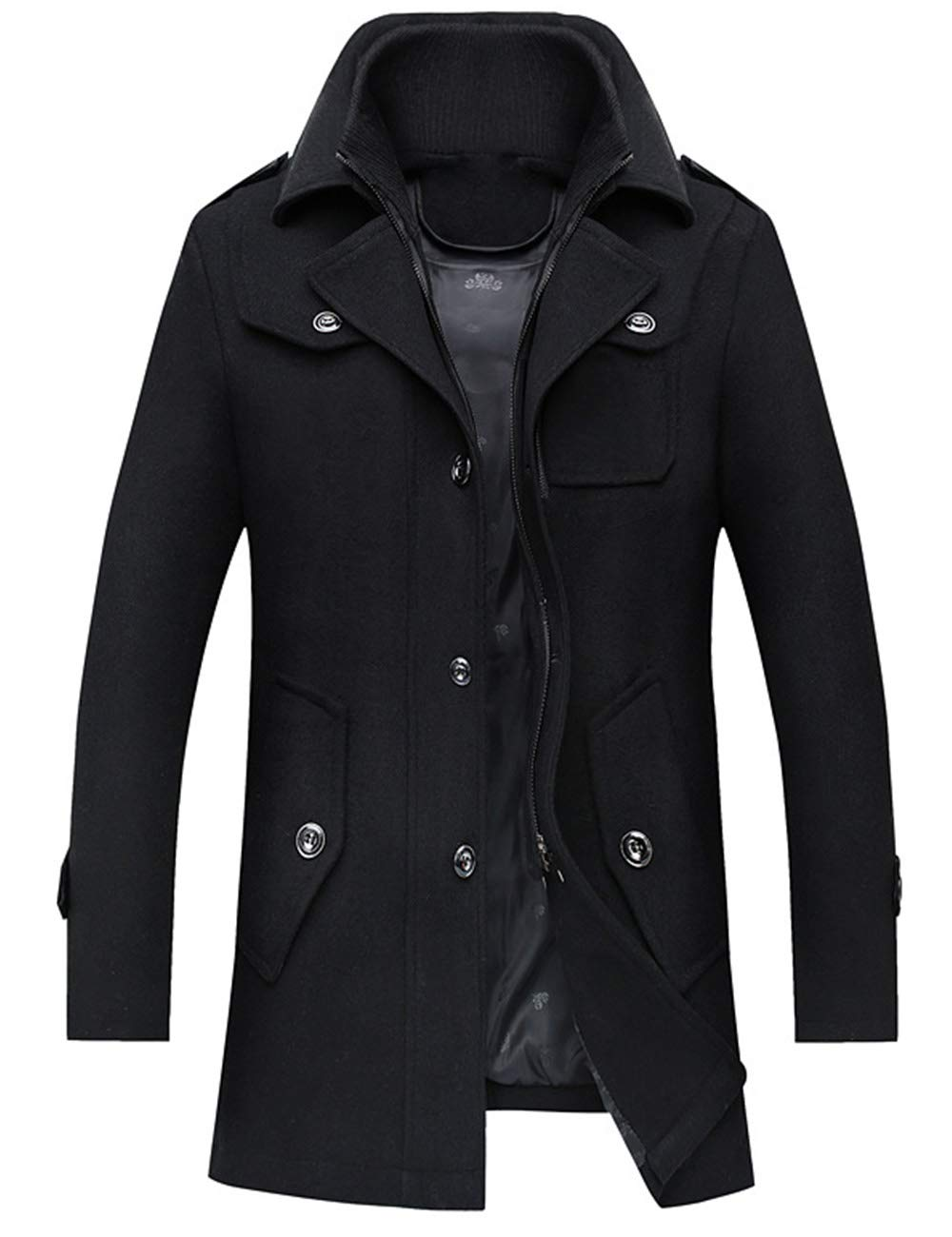 ZENTHACE Men's Winter Solid Single Breasted Thicken Warm Wool Blend Pea Coat Black L by ZENTHACE