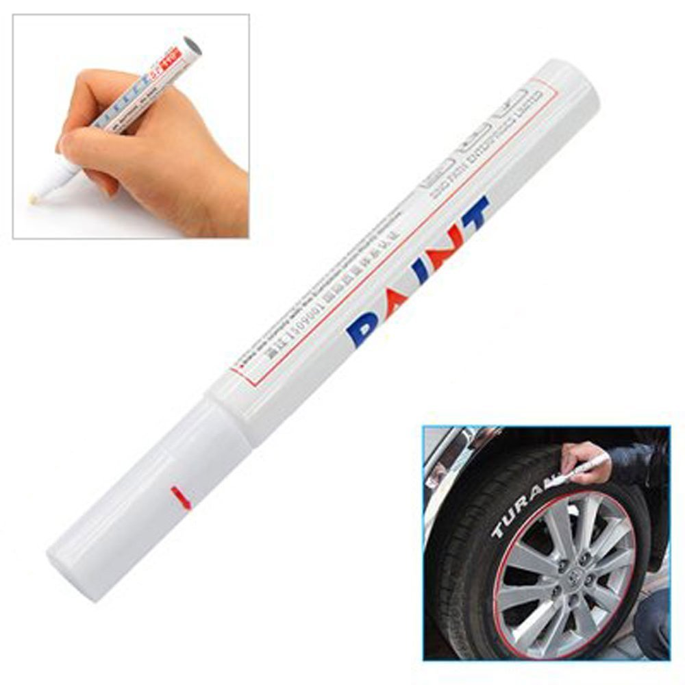 Permanent Car Tyre Tire Metal Paint Pen Marker, White niceEshop 621033723300