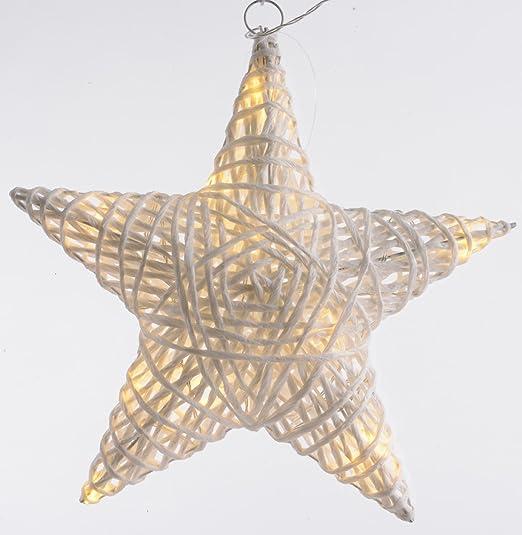 Stella Di Natale A Batteria.Lumineo Carta Paglia Da Interno Con Luci Led A Stella Di Natale