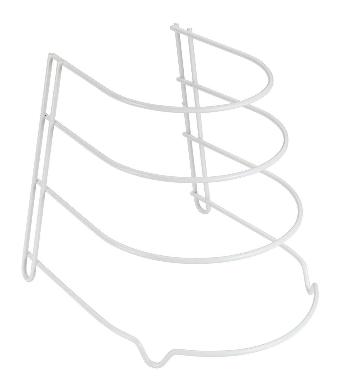 3-Tie Plate Stand Kitchen Countertop Shelves Storage Fry Pans Rack Frying Pan Pots lid Holder Organizer (White) SAFRI®