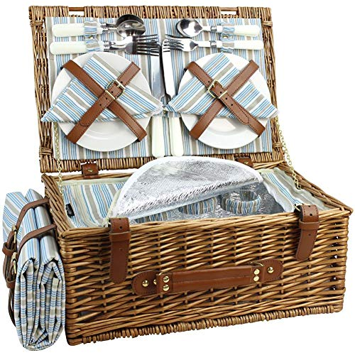 HappyPicnic Wicker Picnic Basket Set for 4 Persons | Large Willow Hamper with Large Insulated Cooler Compartment, Free Waterproof Blanket and Cutlery Service Kit-Classical ()