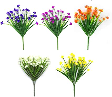 Artificial Fake Flowers 5 Bundles Of 5 Colors Outdoor Uv Resistant Greenery Shrubs Plants Indoor Outside Hanging Planter Home Garden Decorating Amazon Co Uk Kitchen Home