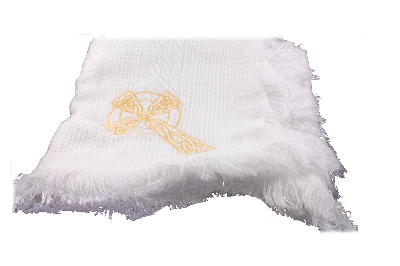 Bridget's Of Erin Christening Baby Blanket Irish Celtic Cross Embroidered White by Bridget's Of Erin