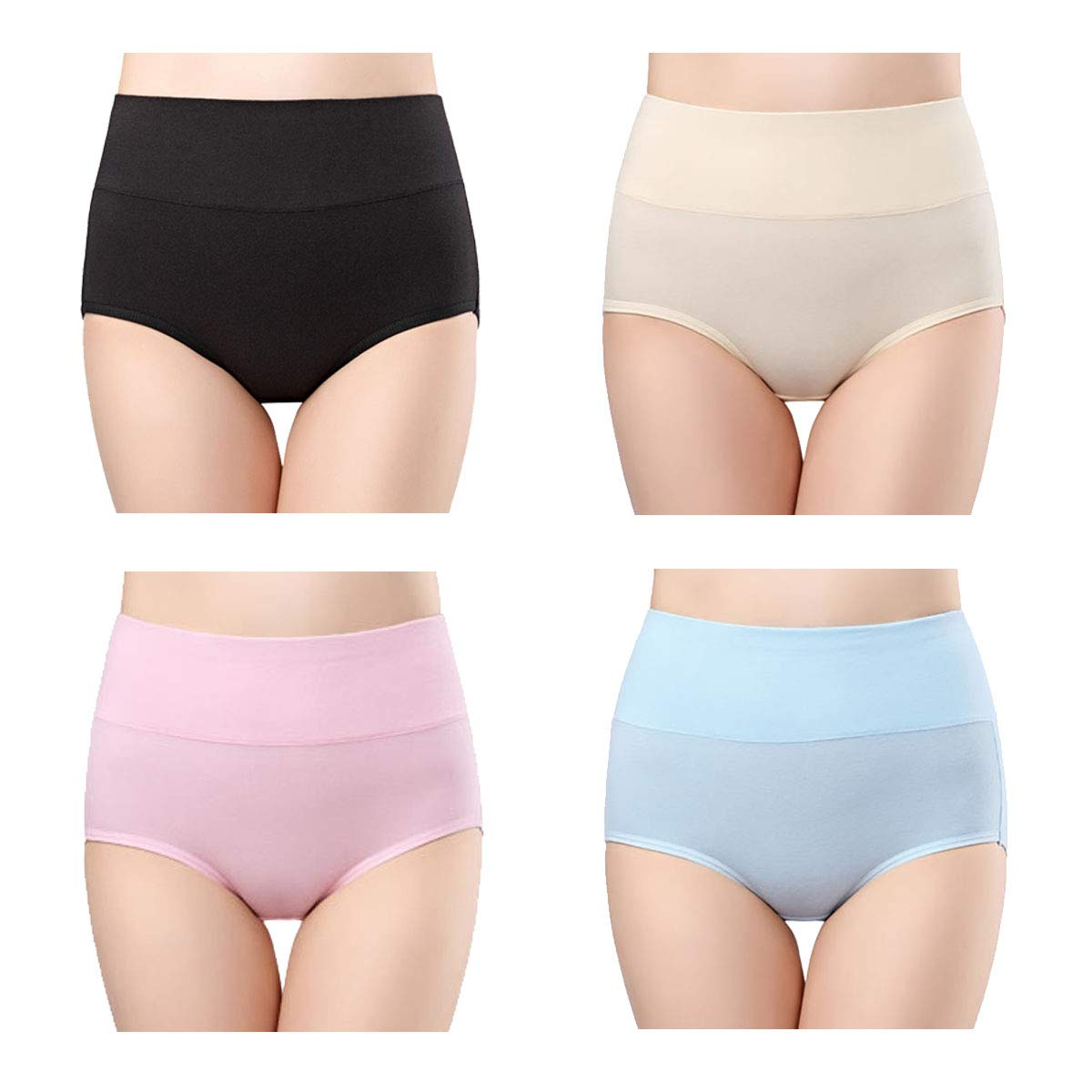 d33a24c48a45 Galleon - Wirarpa Women's Cotton Underwear 4 Pack High Waisted Briefs No  Muffin Top Ladies Comfort Panties Size 6, Medium