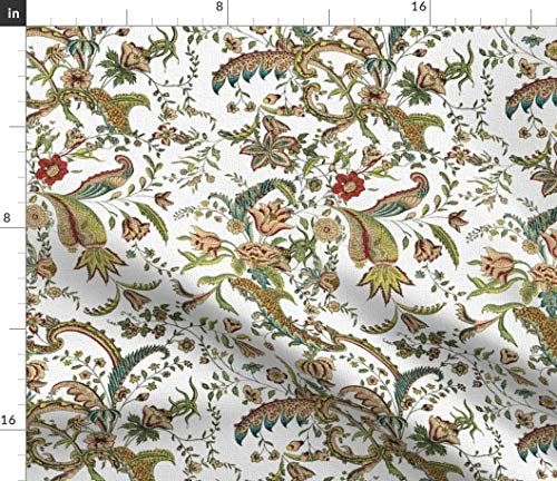 (Vintage Floral Fabric - Elegant Antique Home Decor Flowers Damask Ornate Botanical Leaf Victorian Print on Fabric by The Yard - Velvet for Upholstery Home Decor Bottomweight Apparel)