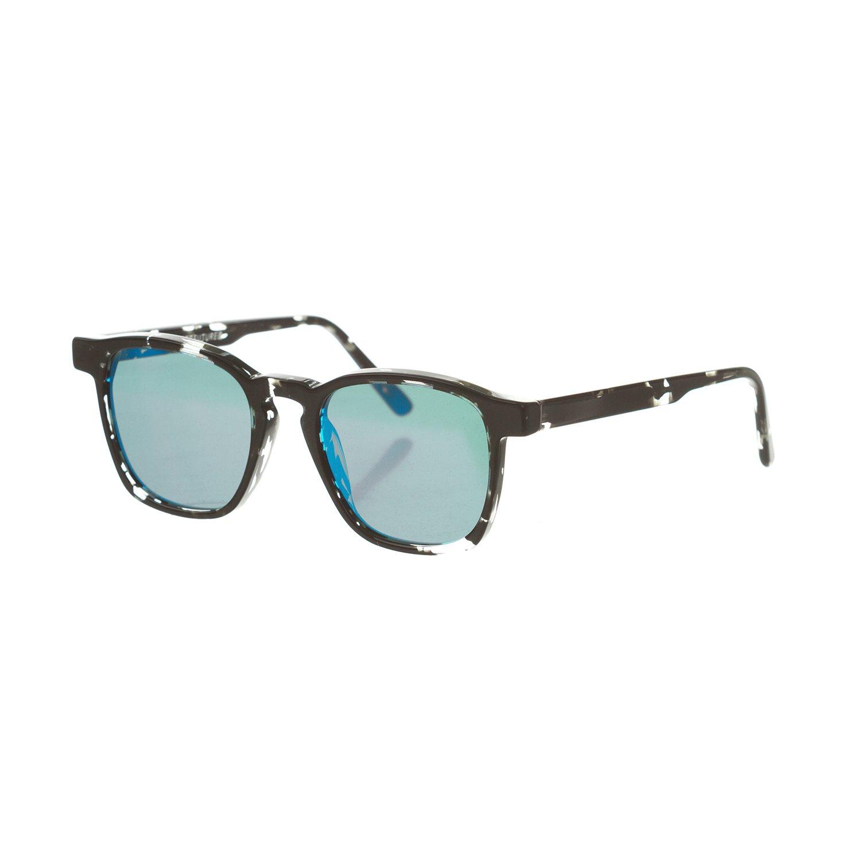low priced 2764b da20d Amazon.com  Retrosuperfuture Unico Blue Mirror Sunglasses SUPER-QKB (Black Grey Crystal,  Mirrored Blue)  Clothing