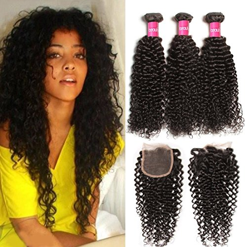 Klaiyi Hair 10A Brazilian Curly Virgin Hair Weave 3-pack Bundles with 4X4 Lace Closure Human hair extensions Natural Color (16 18 20+14 Free Part Closure)
