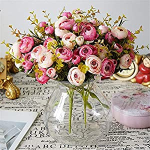 Rvbyjfg Tea Rose Artificial Flower Bridal Bouquet for Wedding Decorating Family Fake Flowers 41