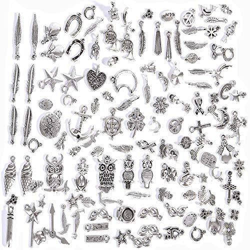 DREAMZE 130 Pieces Wholesale Bulk Lots Jewelry Making Silver Charms Mixed Smooth Tibetan Silver Metal Charms Pendants DIY for Necklace Bracelet Making from DEEAME