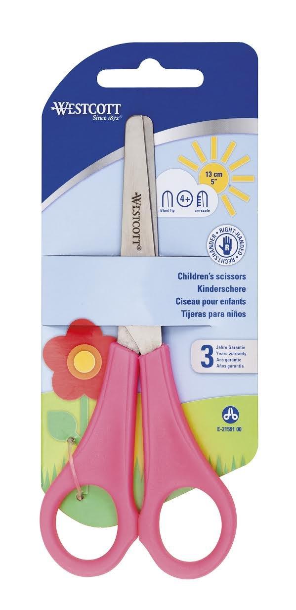 CHILDRENS KIDS RIGHT HANDED SCISSORS WITH RULER EDGE WESTCOTT BRANDED - PINK