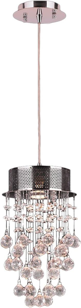 Worldwide Lighting Icicle Collection 1 Light Chrome Finish and Clear Crystal Mini Pendant 8 D x 14 H