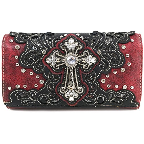 Red Cross Long Bling Floral Rhinestone Strap West Body Only Wallet Bag Messenger with Justin Cross Gleam Purse gHIq6W44