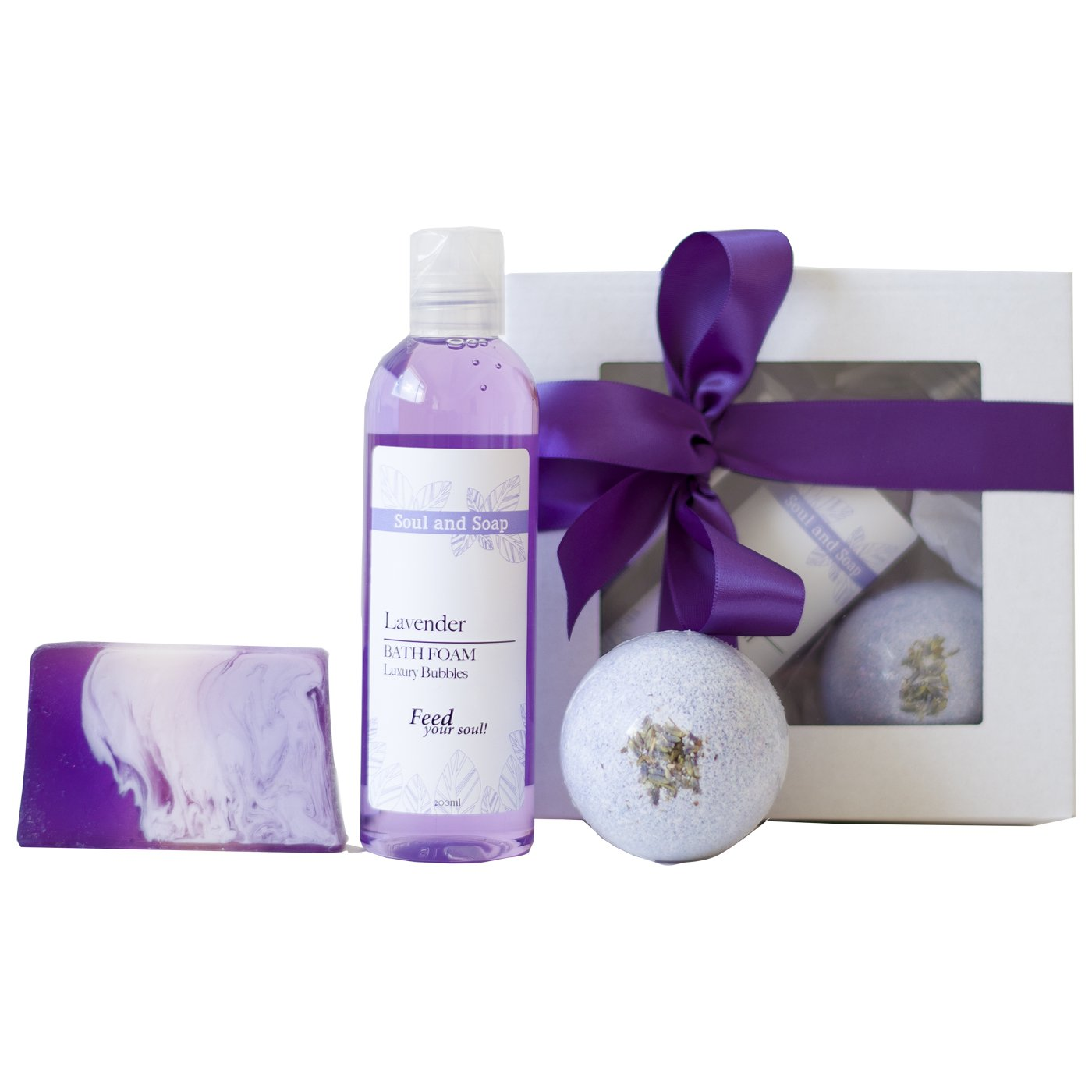 Lavender Bath Gift Set - Handmade Natural Soap Bath Bomb Foam Spa Kit Gift For Her For Woman Mother Pamper Hamper Soak Vegan Cruelty Free Birthday Christmas Pampering Beauty Aromatherapy Idea Soul and Soap