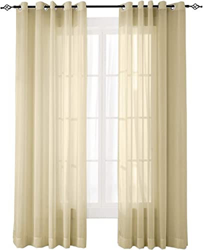 ChadMade Indoor Outdoor Solid Sheer Curtain Nickel Grommet Taupe 120″ W X 96″ L Opulent Voile Drapes 1 Panel