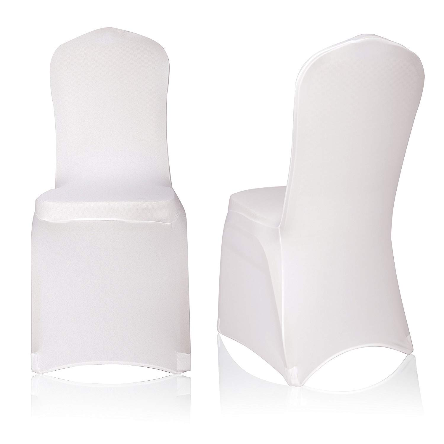 EMART 50pcs Polyester Spandex Ivory Chair Covers Polyester Spandex, Dining Chair Slipcovers for Banquet Wedding Party