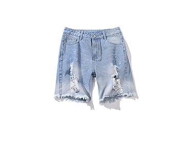 FuweiEncore Pantalones Vaqueros Rasgados para Hombres Verano ...