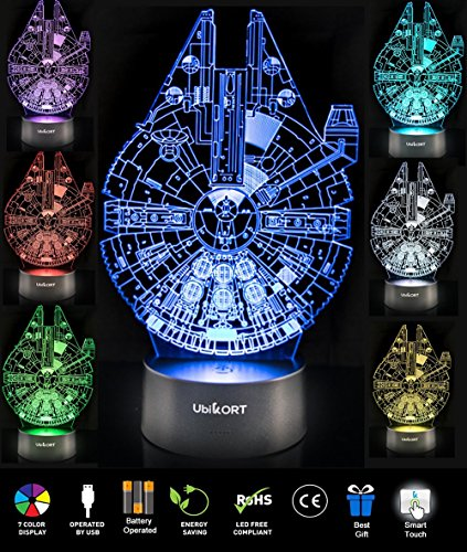 UBIKORT 3D Illusion Night Light Millennium Falcon Table Lamp GREAT Birthday Gift for Kids Bedroom Decor Star Wars Fans...