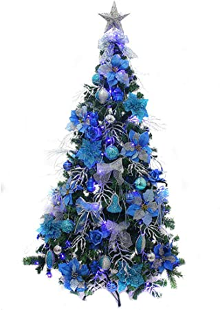 Albero Di Natale Argento E Blu.Dlpy Blu Argento Albero Di Natale Artificiale Luci Led Stand Metallico Pre Decorate Multicolore Albero Decorato Spenta Blu 210cm 83inch Amazon It Casa E Cucina