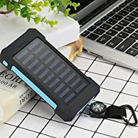 Solar Power Bank 10000 mAh - Solar Power charger 10000 mAh - with the HorseShoe assurance - LED Flashlight with Compass - for ios, Android, Windows Phone - New and improved