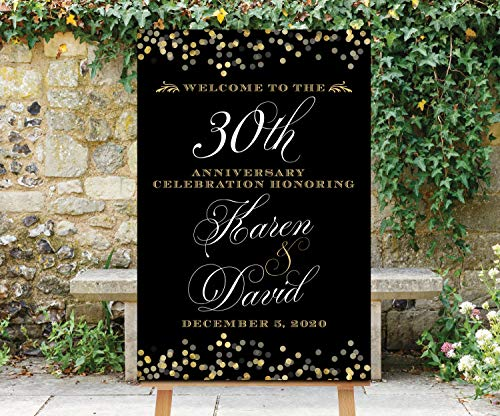 Dozili Anniversary Welcome Sign Printable Black Gold Welcome