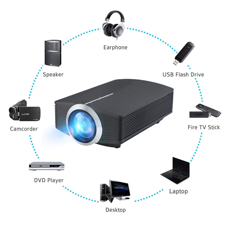 Proyector, DP500 Mini 1200 Lumen Soporte Video LED portátil MHL ...