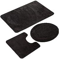 ESUPPORT European Style Bathroom Mats Set 3pcs Non Slip Bath Mat Rug, Solid Color Microfiber U Shaped Contour Rug Carpet…
