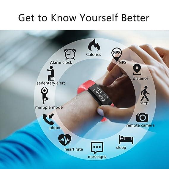 Fitness Tracker Monitor de frecuencia cardiaca gemeita deporte inteligente pulsera IP67 impermeable pulsera de actividad Tracker con contador de pasos y ...