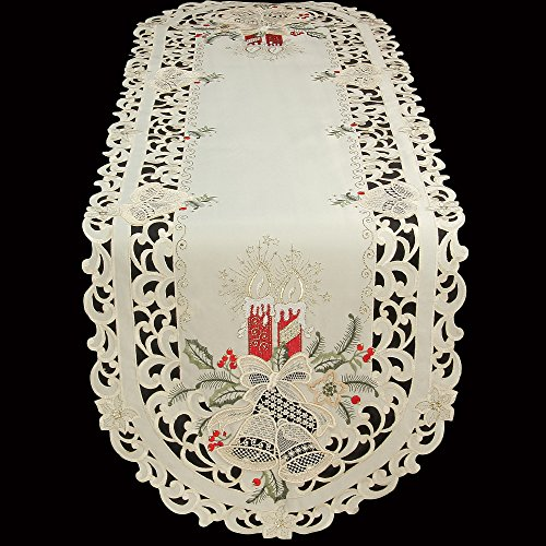 Lame Table Runner - Quinnyshop Christmas Embroidred With Lace Bells and Red Candles Oval 12-Inch-by-17-Inch / 30 x 45 cm Polyester Placemats / Runners, Cream Ivory
