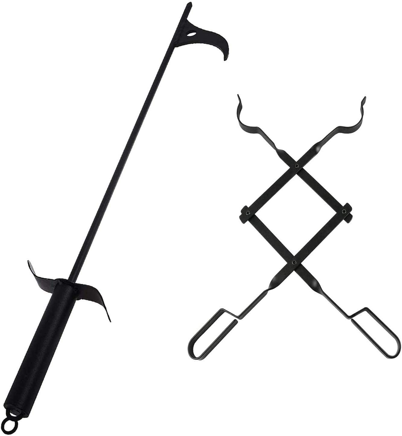 AJinTeby 36″ Fire Pit Poker Outdoor Sticker and 26″ Fireplace Tongs Log Claw Grabberfor Outdoor Indoor Campfire
