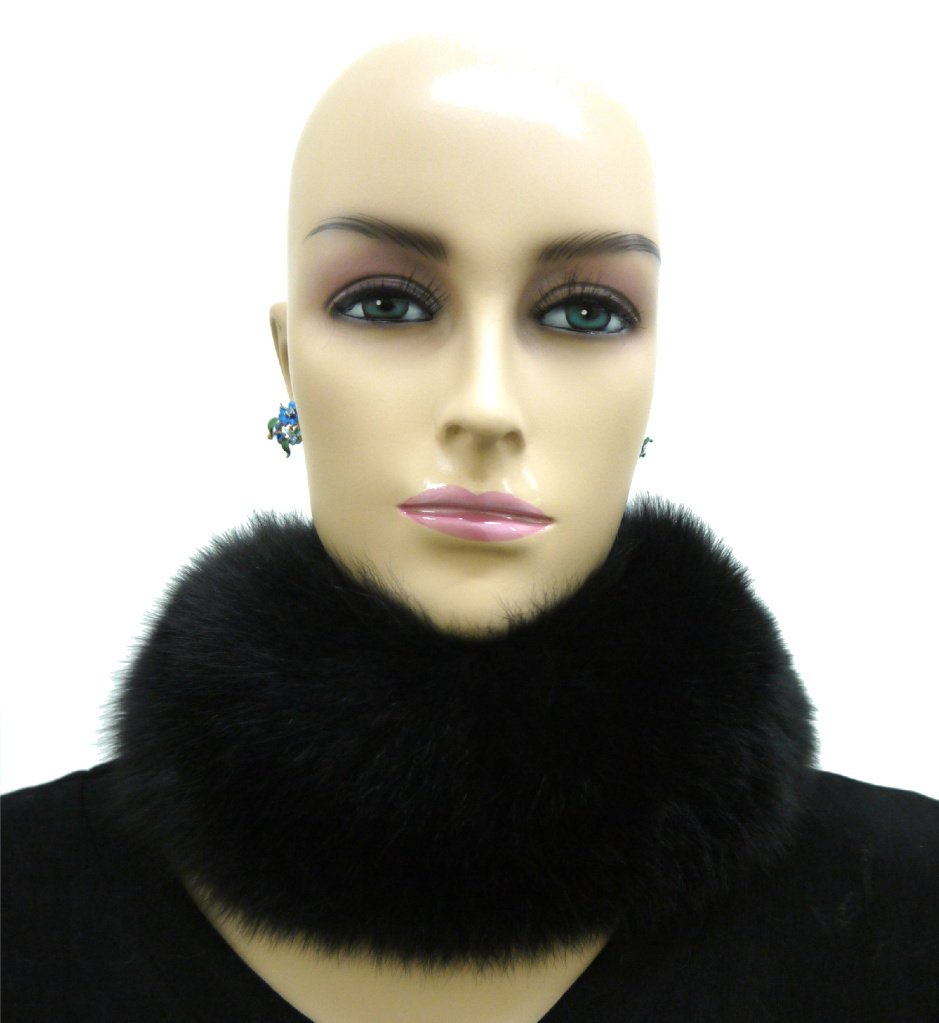 100% Fox Full Fur Multi-Function Neck Warmer/Headband - Black by Hima