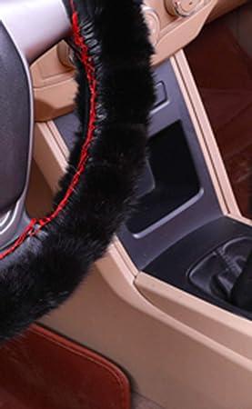 ZJWZ Coche Volante Cubierta 100% Piel De Visón con Tejido De Piel Animal para Diámetro Volante: 37-39 Cm (14.5-15,3 Pulgadas) Ruedas De Dirección Aptos para ...