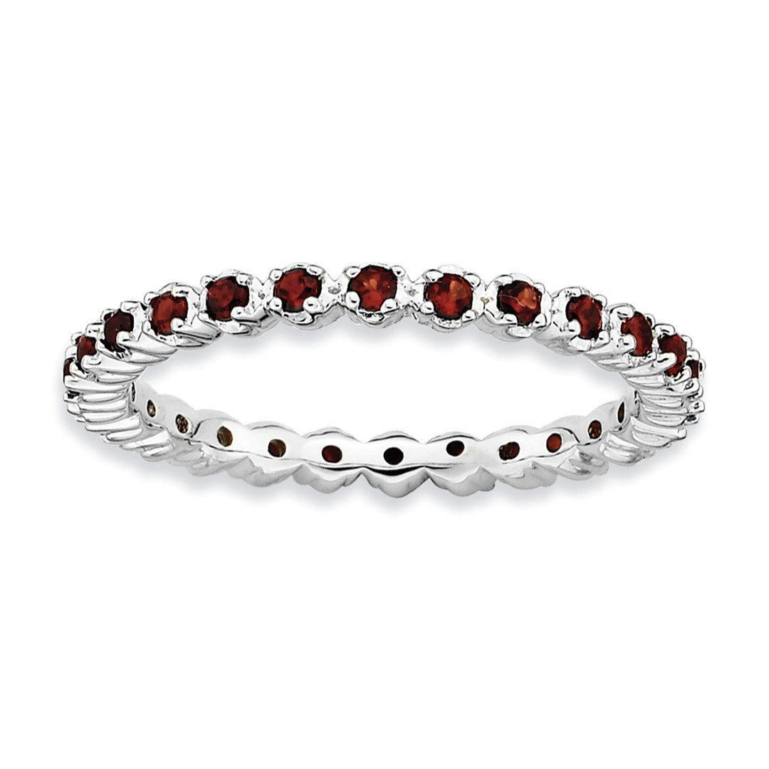 ICE CARATS 925 Sterling Silver Red Garnet Band Ring Size 7.00 Stone Stackable Gemstone Birthstone January Fine Jewelry Ideal Gifts For Women Gift Set From Heart