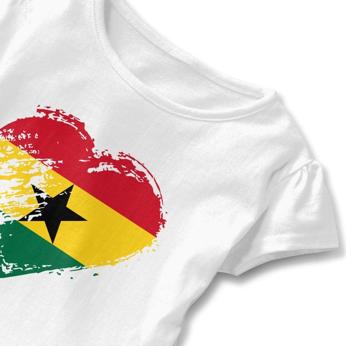 I Love Ghana Heart Flag Toddler Girls Short Sleeve Peplum Top