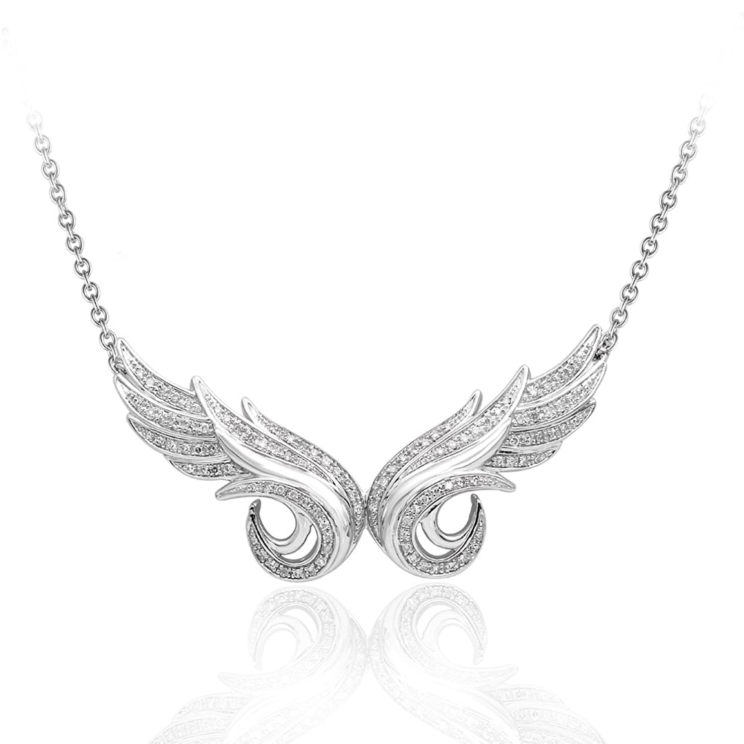 925 Sterling Silver Double Angel Feather Diamond Pendant Necklace (1/3 Carat)
