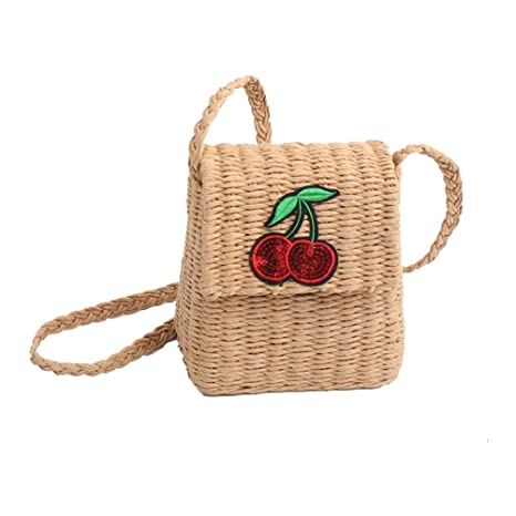 TENDYCOCO Cute Fruit Fruit Cherry Body Bag, Monedero de Paja ...