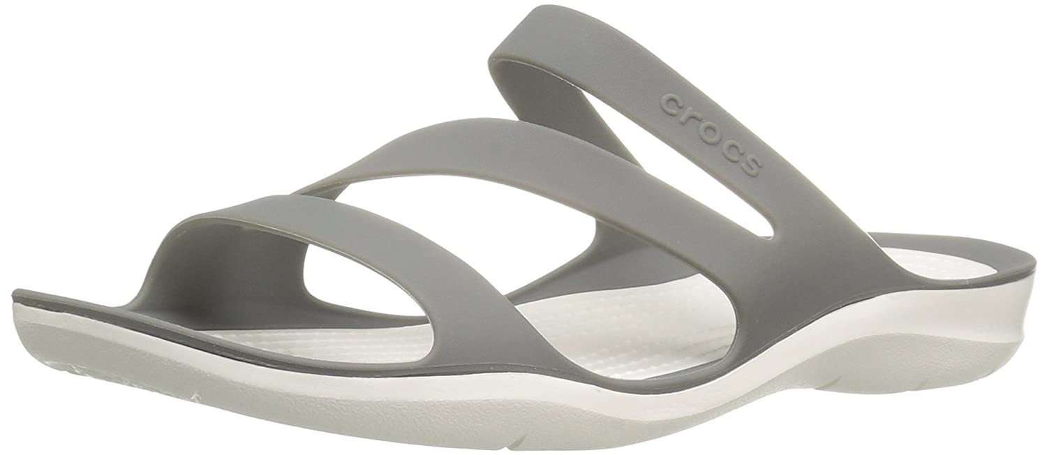 Crocs Women's Swiftwater Sandal B01H71BUNU 6 M US|Smoke/White
