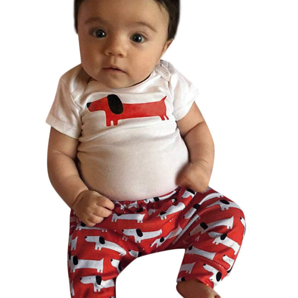 NUWFOR Newborn Kids Baby Girl Boy Cartoon Print Romper Bodysuit Pant 2PC Outfit Clothes(White,12-18 Months)